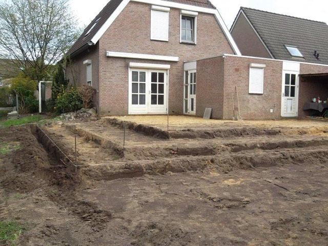 Fundering graven voor aanbouw