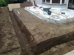 Fundering graven aanbouw