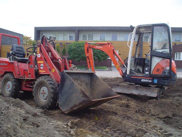 Fundering graven voor terras